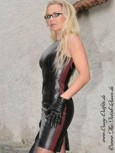 The beautiful Heike, the fetish queen.  DS-138 black leather dress-burgundy