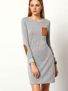 Round Neck Patch Pocket Straight Dress