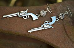 Silver Pistol Earrings with Rhinestone by practicallyfrivolous