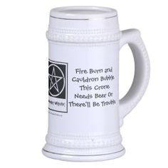 This Crone Needs Beer Pagan Wiccan Stein by www.cheekywitch.com #zazzle #wicca #witch #wiccan #pagan #beer #crone
