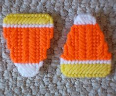 Plastic Canvas Candy Corn Magnets set of 2 by ReadySetSewbyEvie, $3.00