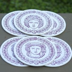 greek god letterpress coasters