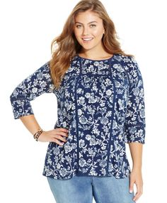 Lucky Brand Plus Size Floral-Print Eyelet-Trim Top