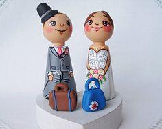 Personalized custom wedding party kokeshi kawaii cake topper bride groom peg dolls dress tux tuxedo suit anniversary gift keepsake heirloom