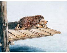 Just a little Hedge sitting on the edge Hedgehog Habitat, Hedgehog Art, Animal Paintings, Animal Drawings, Cute Drawings, Hedgehog Illustration, Illustration Art, Cute Little Animals, Illustrations And Posters