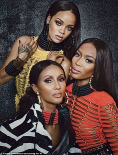 Rihanna, Naomi Campbell, and Iman in W Magazine wearing Balmain.... doesn't get better than this