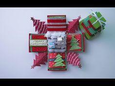 Exploding box x mas Exploding Box Template, Exploding Gift Box, Scrapbook Box, Scrapbooking, Christmas Gift Box, Christmas Crafts, Handmade Christmas, Explosion Box Tutorial, Printable Christmas Cards
