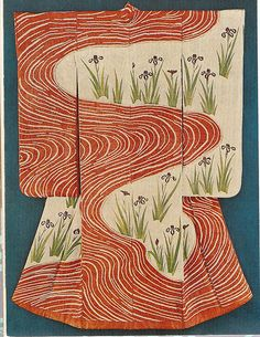 Kosode. Designs of Irises by a Stream. White Figured Satin. Circa 17th to 18th Century (Mid-Edo Period). Nagao Art Museum, Tokyo.