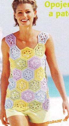Blusas Coloridas com Squares e Hexágonos Crochet Kids Hats, Cute Crochet, Crochet Clothes, Crochet Top, Crochet Diagram, Crochet Chart, Crochet Teacher Gifts, Crochet Projects To Sell, Ravelry Crochet