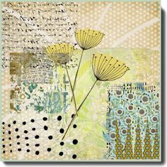 Love the dandelion-type flowers (doodle idea), plus the black dots linked together. Great use of colour.