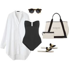 A fashion look from May 2014 featuring Eres one piece swimsuits, Chloé sandals and Balenciaga tote bags. Browse and shop related looks.