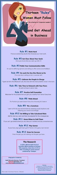 Thirteen Rules Women must follow to get ahead in business #Infographic