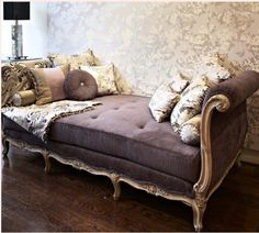 Every girl needs a chaise, fainting couch, or lounge, with abundant pillows and soft textures. Paris Apartment Decor, Paris Apartments, French Apartment, French Daybed, French Bench, Fainting Couch, Interior Design Pictures, French Country House, French Furniture