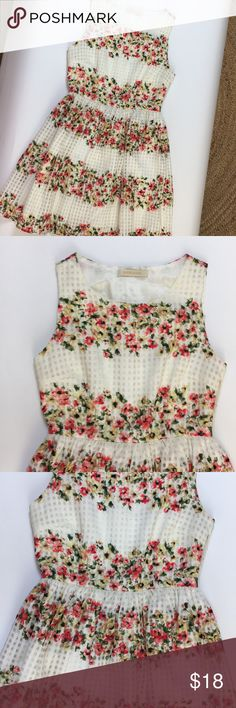 Flirty Floral Party Dress Cute party dress with gingham and Floral pattern. Very Garden Party vibe. Zipper under arm. Lined, no damage. Dresses Midi