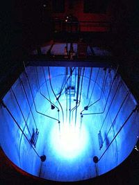 Cherenkov Radiation from a research fission reactor.
