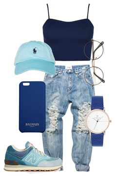 """""""Untitled #81"""" by trillqueen34 ❤ liked on Polyvore featuring New Balance, WearAll, Polo Ralph Lauren and Balmain"""