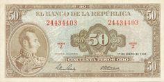 BILLETE DE 50 PESO AÑO 1964 BANCO DE LA REPÚBLICA DE COLOMBIA Childhood Memories, Vintage World Maps, Coins, History, Central Bank, Brazil, Patriotic Symbols, Stop It, Door Bells