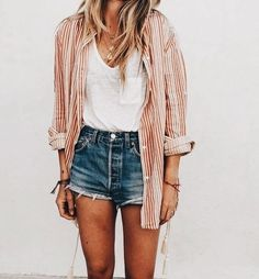 long sleeve button-up (open) + solid white top + jean shorts