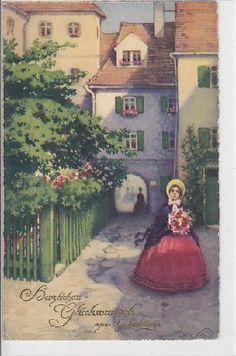 Alte AK col. Künstlerkarte Fritz Baumgarten Herzlichen Glückwunsch............