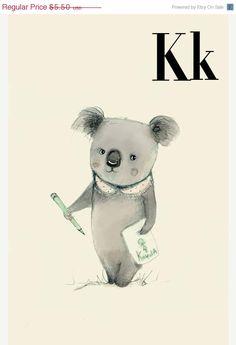 SALE- K for Koala Alphabet animal,  Print 4x6 inches