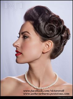 A retro 1940's style wedding up do.   1940s updo 40s Wedding retro vintage classic bridal party www.facebook.com/victoryroll www.asthecurlturns.posterous.com