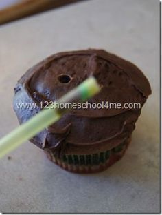 Geology -- Earth science experiments for kids - cupcake core sample