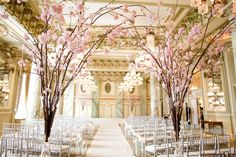 pastel pink cherry blossom themed wedding