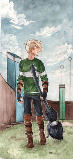 Quidditch by CaptBexx on DeviantArt // holy Merlin, I-I mean... I don't have a huge crush on this artist's Draco or Draco at all, you have it
