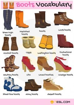 Types of Boots Useful Boot Names with Pictures is part of English vocabulary - Types of Boots! List of useful boot names in English with pictures and examples Learn these names of boots to enlarge your vocabulary words in English English Fun, English Idioms, English Vocabulary Words, Learn English Words, English Study, English Lessons, English Grammar, French Lessons, Spanish Lessons