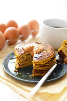 10. Paleo Pumpkin Pancakes #healthy #fall #snacks…