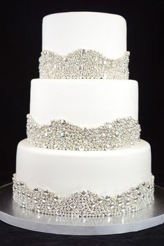 These silver wedding cake decorations are perfectly for a sparkling winter wedding! Elegant Wedding Cakes, Beautiful Wedding Cakes, Beautiful Cakes, Trendy Wedding, Amazing Cakes, Sparkly Wedding Cakes, Glitter Wedding, Cake Wedding, Beaded Wedding Cake