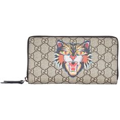 Gucci Angry Cat Zip-Around Wallet ($510) ❤ liked on Polyvore featuring bags, wallets, gucci wallet, white bag, zip-around wallets, gucci bags and cat wallet