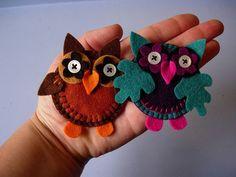 Felt owls: