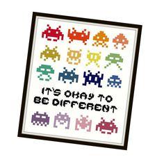 HALF OFF PATTERNS Sale Space Invaders Cross Stitch Pattern - Cross Stitch…