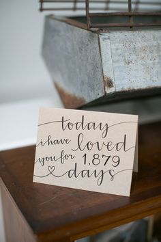 """sweet wedding day card - """"today I have loved you for 1,879 days"""" 