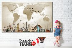 World Map Canvas Beige World Map Wall Decor LARGE World Map World Map Wall Decor, World Map Canvas, Canvas Art, Canvas Prints, Cotton Canvas, Anniversary Gifts, Kids Rugs, Beige, Wall Art