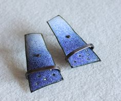 Impossible Earrings Series  -------------------------------------    Enameled and oxidized copper and oxidized silver ear wires.  Length of