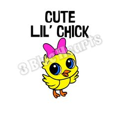 Cute Lil' Chick SVG dxf Studio pdf jpg png by 3BlueHeartsDesign on Etsy