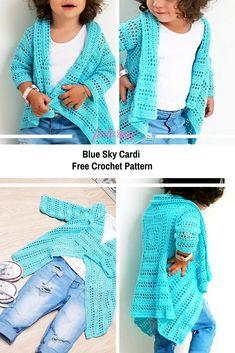 Precious Blue Sky Cardi Free Crochet Pattern - Knit And Crochet Daily Crochet Girls, Crochet For Kids, Easy Crochet, Crochet Baby, Free Crochet, Knit Crochet, Crochet Vests, Kids Patterns, Knitting Patterns