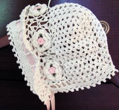 Image detail for -Crochet Baby Bonnet Hat Cap Christening Reborn Doll new - Hats ...