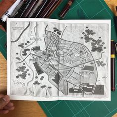 Newly published fictional map illustration for a new book title called INK this was fun to  draw it's a completely made up place that came from the author and I helped visualise it into a map #map #ink #pen #illustration #draw #drawing #sketch #sketching #rotring #instafollow