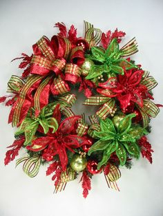 Festive Funky Red Bright Green Poinsettia Sparkle Christmas Wreath by Ed  #EdTheWreathGuy