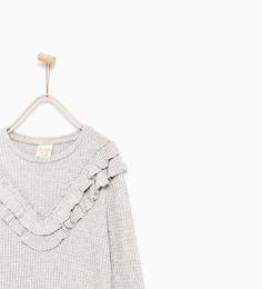 Image 2 of FRILLED SHINY T-SHIRT from Zara