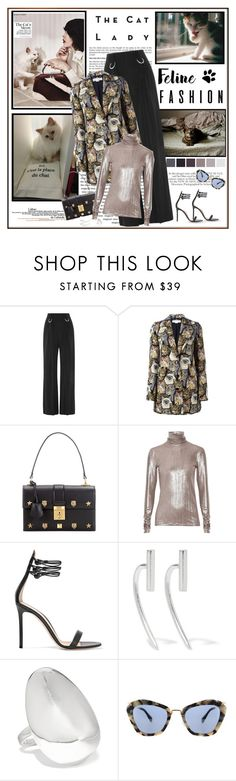 """Feline Fashion"" by likepolyfashion ❤ liked on Polyvore featuring Karl Lagerfeld, Dion Lee, STELLA McCARTNEY, Gucci, PALLAS, Gianvito Rossi, Sessions, Chan Luu, Sophie Buhai and Miu Miu"