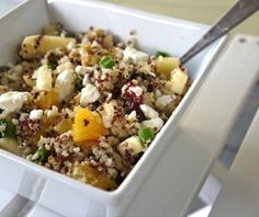 This delicious quinoa salad is one of my favorites. The summery citrus flavors mix wonderfully with the classic autumn combo of dried cranberries, walnuts and cheese. Perfect for this time of year ...