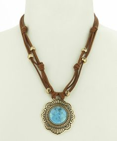 This Turquoise & Bronze Leather Pendant Necklace is perfect! #zulilyfinds