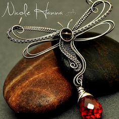 Nicole Hanna Jewelry | Wire Wrapped Dragonfly Pendant, Smokey Quartz and Red CZ | Online Store Powered by Storenvy