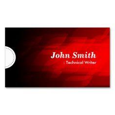Technical Writer - Modern Dark Red Business Card Templates