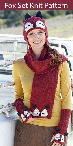 Hat, Scarf, and Mitt Sets Knitting Patterns - In the Loop Knitting Mens Scarf Knitting Pattern, Easy Knitting Patterns, Knitting Yarn, Knitting Ideas, Stitch Patterns, Fox Hat, Fingerless Mitts, Wrist Warmers, Pattern Matching