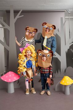 Get the whole family in on the act. Goldilocks's wig is made from curled paper spirals and the bears' heads are crafted from paper bags and plates.